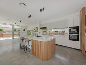 Curved Kitchen Island bench marble bench top polished concrete kitchen on budget